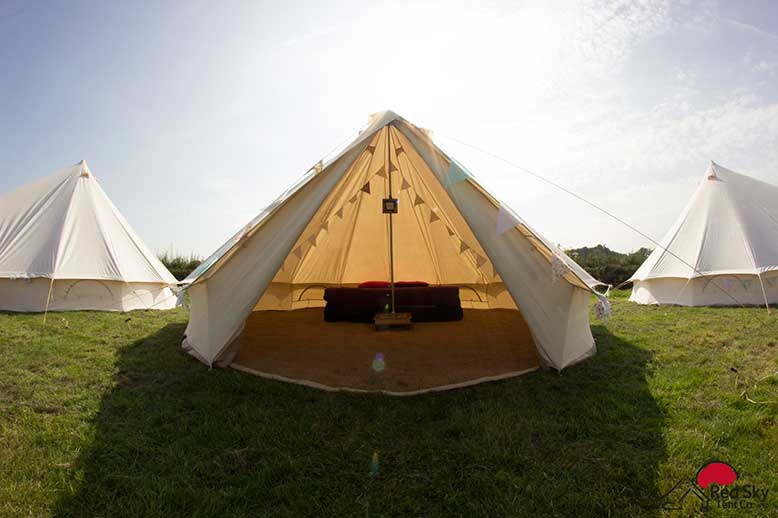 There are floor carpets internal lights table and bunting in each bell tent to provide your wedding guests cosy and comfortable. & Luxury Bell Tent Hire For Weddings
